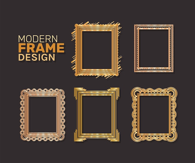 Modern frames set gold design of decorative element theme