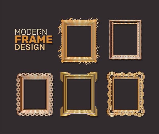 Modern frames set gold design of decorative element theme