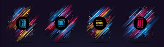 Modern frames with dynamic neon glowing lines isolated on black background