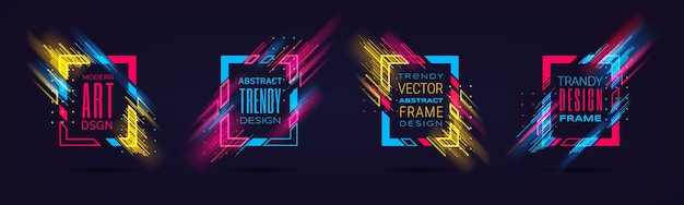Modern frames with neon glowing lines isolated on black background