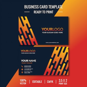 Modern front and back side business card template