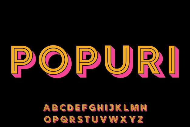 Modern fun geometric font alphabet set