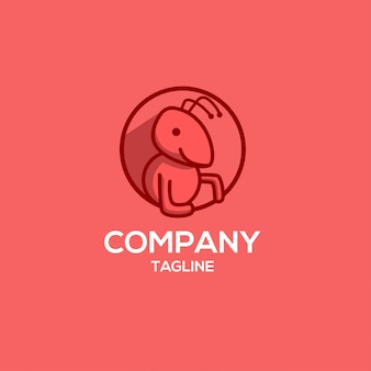 Modern funny red ant logo template