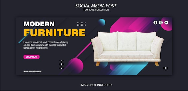 Modern furniture banner, panoramic size for facebook cover