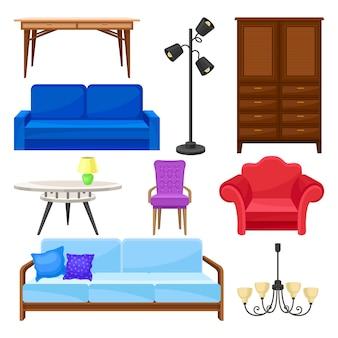 モダンな家具コレクション、白い背景の上のインテリア要素イラスト