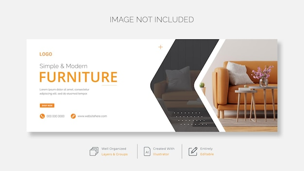 Современная мебель facebook обложка баннер шаблон