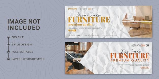 Modern furniture facebook cover page template design, glued paper, torn paper, furniture sale