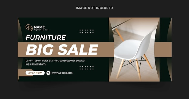 Modern furniture facebook cover page and web banner template