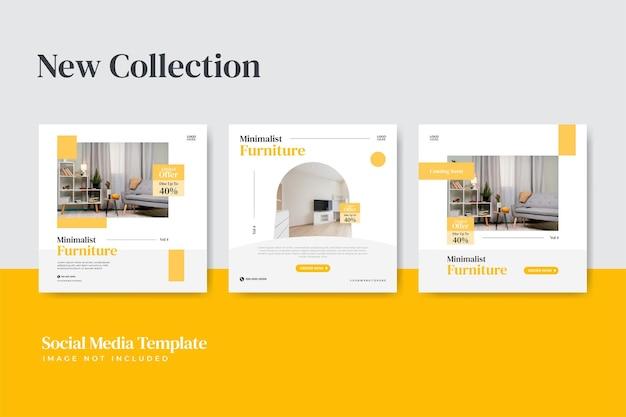 Modern furniture instagram social media post template pack