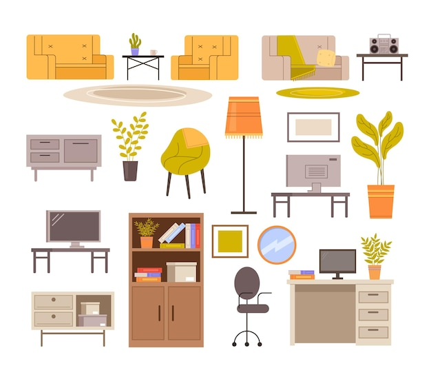 Modern furniture isolated set.