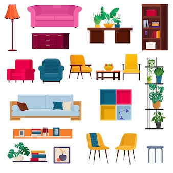 Modern furniture and  items for a living room or office interior vector illustration