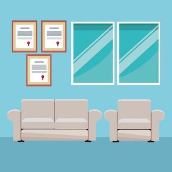 Modern furniture room cartoon