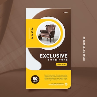 Modern furniture sale template design with brown yellow color for social media and banner