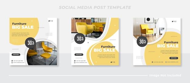Современная мебель в социальных сетях и шаблон поста в instagram