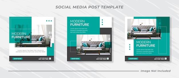 Modern furniture social media post template design