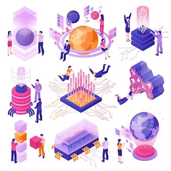 Modern future technologies isometric set