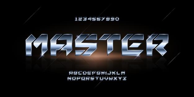 現代の未来的なアルファベットフォント。テクノロジー、デジタル、映画のロゴのためのタイポグラフィアーバンスタイルのフォント