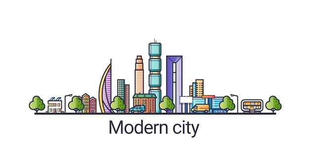 フラットラインスタイルのモダンで未来的なエコシティ。線画。すべての線形オブジェクトは分離され、カスタマイズ可能です。