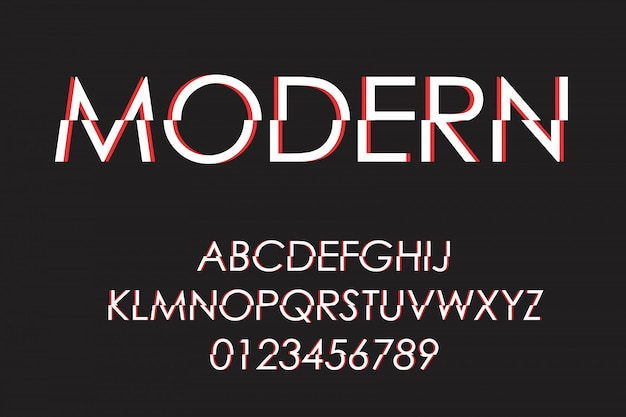Modern futuristic font and alphabet,  typeface, letters and numbers, typography.