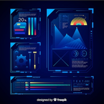 Modern futuristic infographic element collection