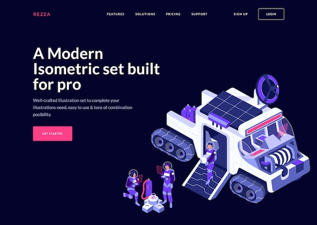 Modern and futuristic landing page concept