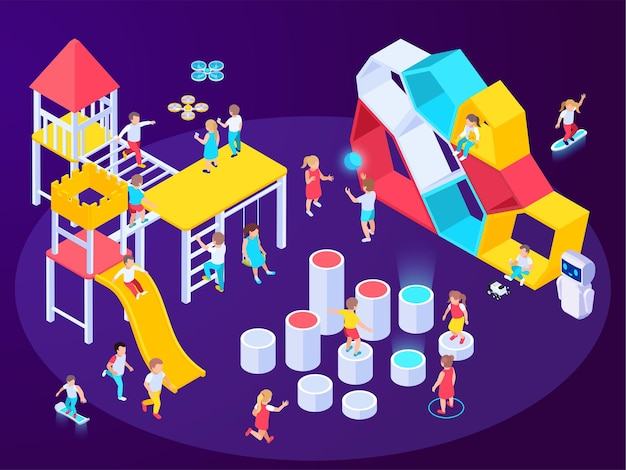 놀이기구 이미지가 있는 현대적인 미래형 놀이터 아이소메트릭 구성