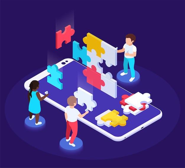 Современная футуристическая игровая площадка изометрическая иллюстрация с персонажами детей, перемещающими кусочки пазла поверх смартфона