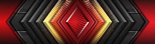 골드 메탈릭 방향 럭셔리 오버랩 디자인으로 현대적인 미래 지향적 인 빨간색과 짙은 회색