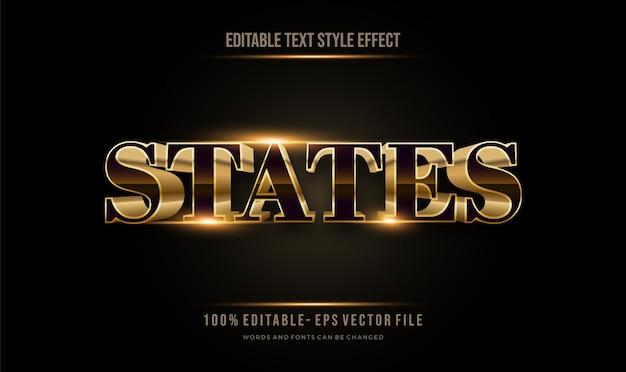 Современный футуристический стиль и темный и золотой эффект редактируемый стиль текста редактируемый текстовый эффект вектор