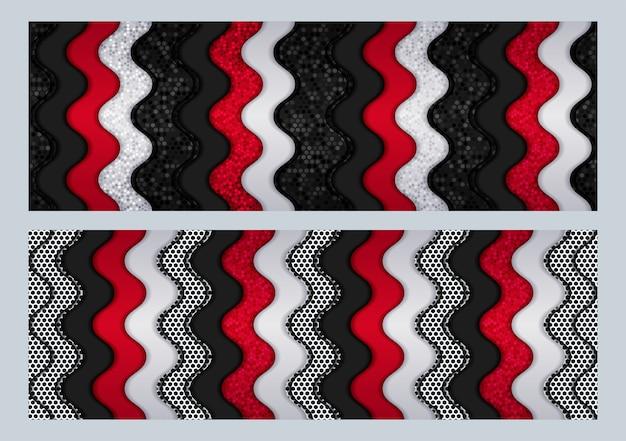 Современный футуристический технический дизайн с черным и серым металлическим углеродом, перекрывающим темный шестиугольник