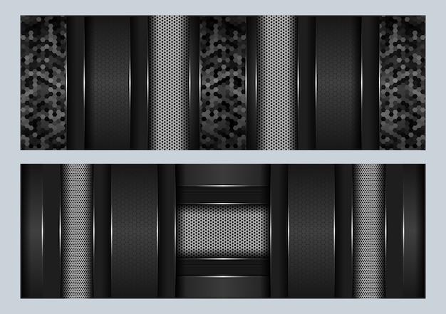 Modern futuristic tech design with black and grey metal carbon overlap dark hexagon background