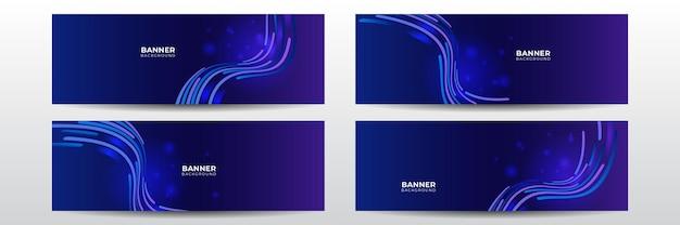 Современный футуристический технологический баннер. синий абстрактный вектор бизнес длинный баннер шаблон. бизнес минимальный фон с полутоновым кругом кадра. технический векторный баннер шаблон для социальных сетей, веб-сайт.