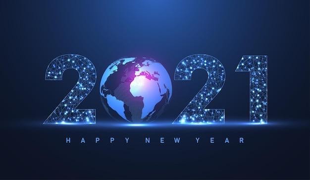 Современный футуристический технологический шаблон для счастливого рождества и счастливого нового 2021 года с соединенными линиями и точками. геометрический эффект сплетения. подключение к глобальной сети. векторная иллюстрация.