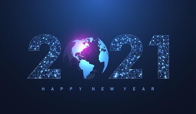 接続された線と点を持つメリークリスマスと新年あけましておめでとうございます2021年のモダンな未来技術テンプレート。プレクサスの幾何学的効果。グローバルネットワーク接続。