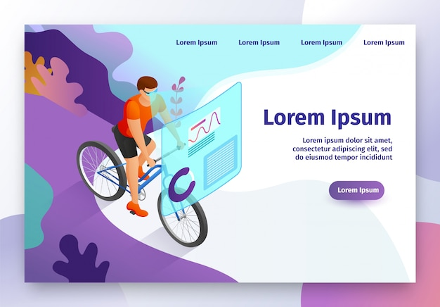 Modern gadget for fitness isometric vector website