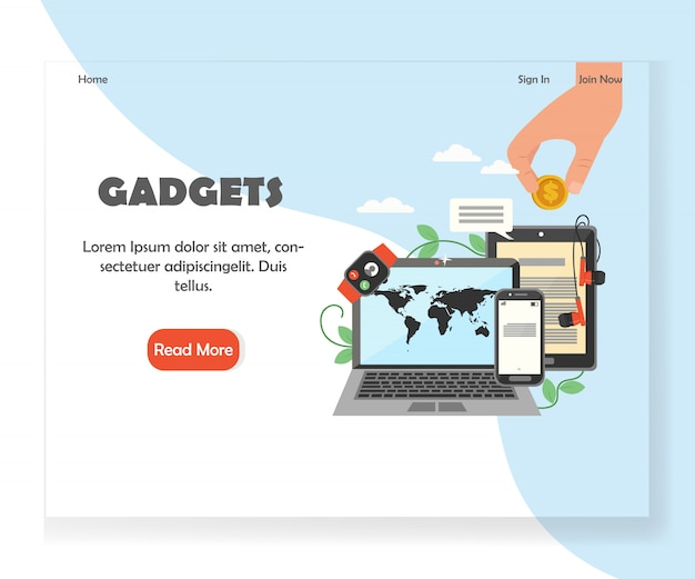 Modern gadgets website landing page design template
