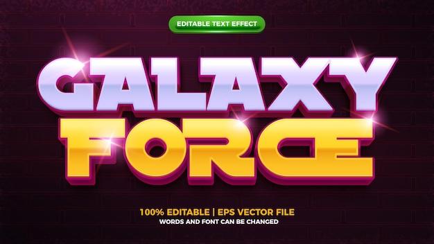Редактируемый текстовый эффект modern galaxy force 3d