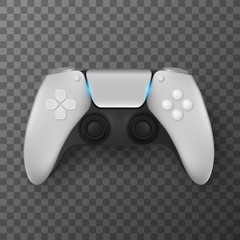 Modern game pad for video games isolated on transparent background. realistic joystick for game console with backlit. computer games. vector illustration. eps 10.