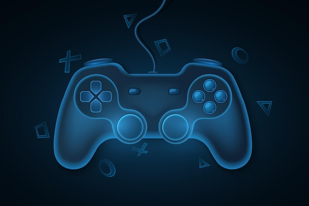 Modern game pad with wire for video games. blue, 3d joystick for game console. dynamic geometric symbols background. computer games concept for your template design. vector illustration