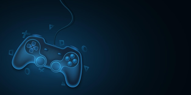 Modern game pad with wire for video games. blue, 3d joystick for game console. dynamic, geometric symbols. computer games concept for your template design. vector illustration