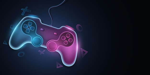 Modern game pad with wire for video games. vector joystick with neon glow for game console. abstract geometric symbols. computer games concept for your design. eps 10