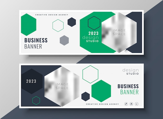 Modern geometric business banners set template design