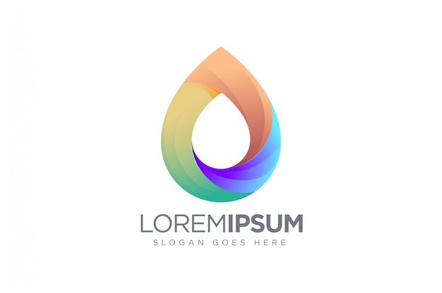 Modern geometric colorful water logo