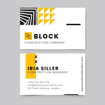 Modern geometric construction business card