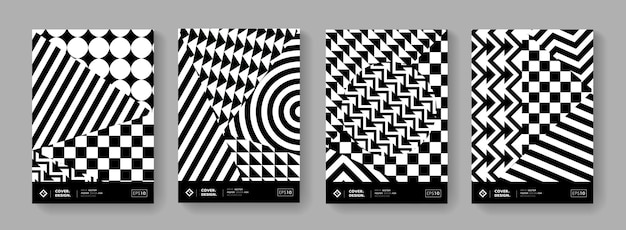 Modern geometric covers. monochrome minimal pattern. abstract swiss design posters.