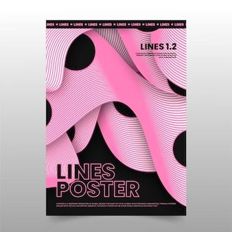 Modern geometric dark trendy lines poster