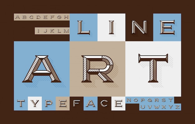 Modern geometric font set