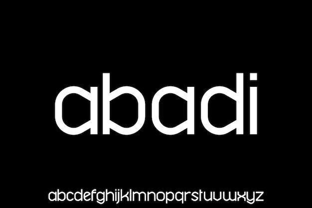 Modern geometric futuristic font alphabet set