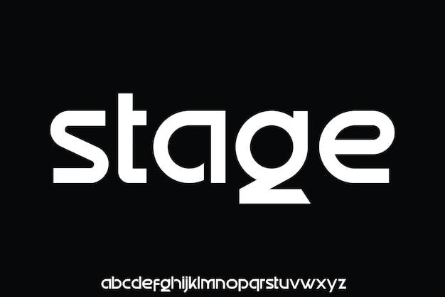 現代の幾何学的な未来的なタイプセット表示フォント