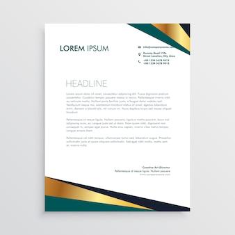 Modern geometric golden letterhead design